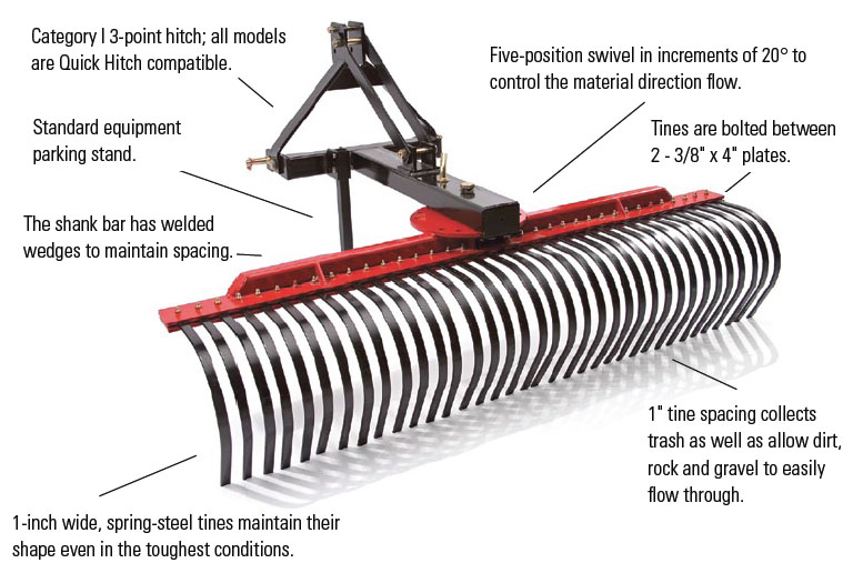 farm king landscape rake for 3 point hitch tractors